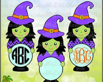 Halloween Design Cute Witch with Crystal Ball Monogram Base Digital Clipart and Cut File Jpeg Png SVG EPS DXF Instant Download
