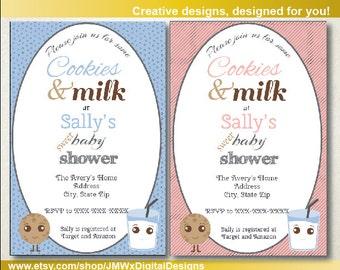 Cookies and Milk Baby Shower Invitation, Baby Shower Invitation