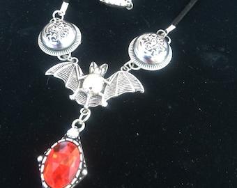 Vintage button bat necklace