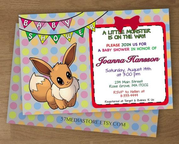 baby shower invitation pokemon eevee theme digital printable