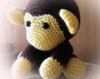 johnny the monkey baby, ready to play, amigurumi monkey, crochet amigurumi, crochet monkey