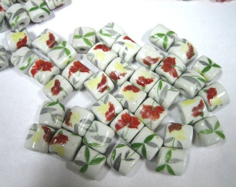 Hand Painted Ceramic Beads (9pc)