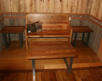 Reclaimed Barn Wood Coffee Table Set w/ Industrial Metal Base *FREE SHIPPING* Includes 2 End Tables and the Coffee Table