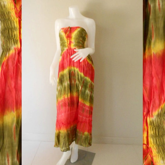 Plus size 2 in 1 Boho Hippie 100 % tie dye cotton smock tube dress maxi summer sundress comfy beach casual dress long skirt (TD 118)