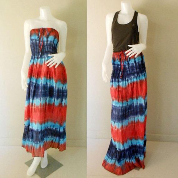 Plus size 2 in 1 Boho Hippie 100 % tie dye cotton smock tube dress maxi summer sundress comfy beach casual dress long skirt (TD 122 )
