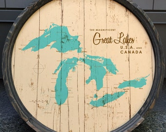 Great Lakes Map Barrel End