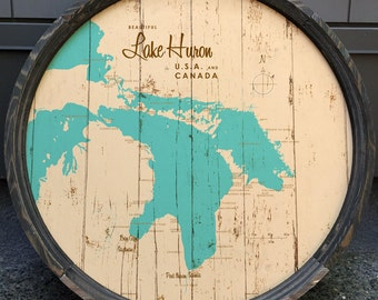 Lake Huron Map Barrel End