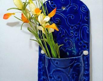 Blue Ceramic Wall Pocket, Clay Wall Art, Home Decor, Wildflower Wall Vase, Blue Wall Pocket