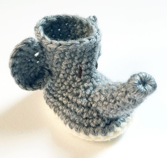 Crochet Elephant Baby Booties / Animal Baby Shoes ...