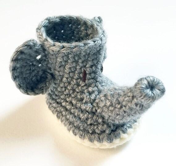 Crochet Animal Baby Booties Pattern : Crochet Elephant Baby Booties / Animal Baby Shoes ...
