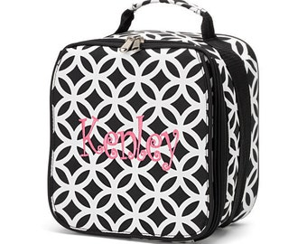 Black and White Sadie Lunch Box, Lunch Tote, Lunch Bag