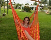 Hammock Chair Indoor Outdoor Fair Trade Handmade by Mayan Artisans from Yucatan Mexico (Tequila Color)