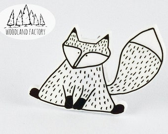 Mr. Fox -  a hand illustrated cute animal plastic pin, brooch, badge, quirky animal gift