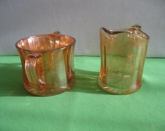 Creamer and Sugar Bowl Indiana Carnival Glass Marigold Made in USA