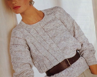 bfd6338a25985a Knitting Pattern Ladies Woman s  Girls Sweater Jumper DK  Light Worsted  Weight  8 Ply size 30-44in 76-112cm