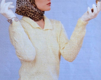 Ladies/woman's Jumper/Sweater with Collar DK Knitting Pattern size 32-38 81-97cm