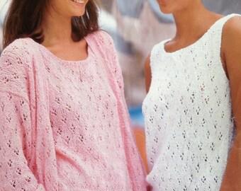 Knitting Pattern Ladies/Woman's/Girls Two Piece , Vest & Cardigan DK Pattern size 30- 42in 76-107cm