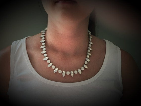 Marquise and Round Cut Swarovski White Opal Crystal Bridal Necklace