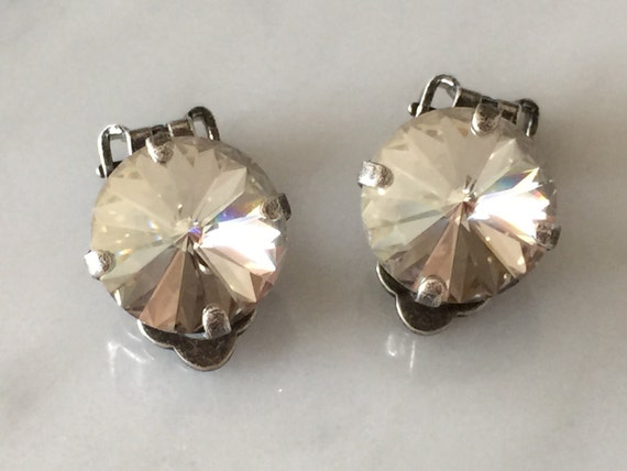 Crystal Silver Shade Clip On Earrings, Clip On Crystal Earrings,  Crystal Clip-On Earrings,  Swarovski Silver Shade Earrings