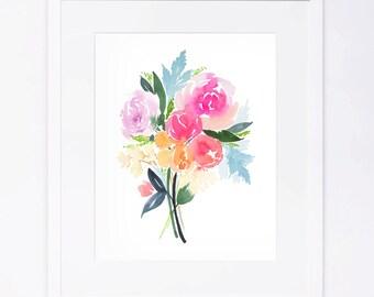 Pink Orange Turquoise Watercolor Flower Bouquet Print