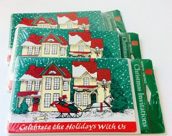 Christmas Invitations, American Greetings Old New Stock Paper Invitations, 3 Packages, 8 Cards, 8 Envelopes, Celebrate the Holidays With Us