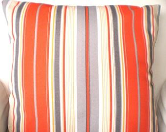 OUTDOOR Pillow Covers, Throw Pillows, Cushions, Yellow Gray Orange White Stripe Terrance  Beach Decor, Patio Pillows, One or More All Sizes