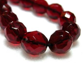10mm Garnet Beads Faceted Czech Glass Rounds Preciosa Crystals 16 Inch Fire Polished Uniform Traditional Czech Glass Beads 10mm Faceted Red