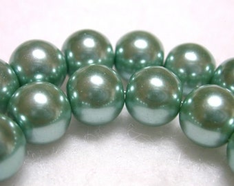 Sage Green Pearls 12mm Glass Pearls Teal Round Czech Glass Pearls Very Shimmery Pearl Rounds soft Sage 12mm Pearl Rounds 36 Pearl Rounds