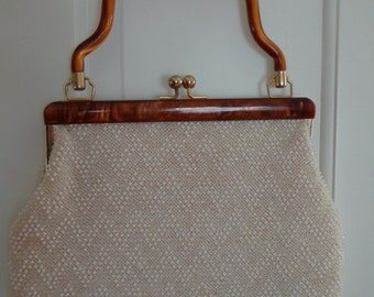 Vintage Beaded Handbag with Tortoiseshell Handle.