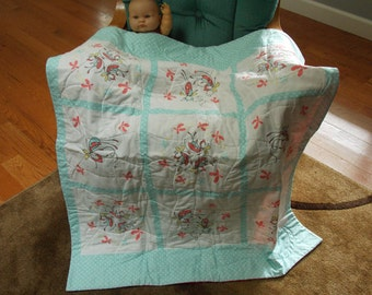 Butterly Dance quilt for babies toddlers children, lightweight cotton.  Blue green white pink. Baby shower gift, crib or car seat quilt