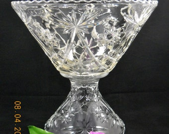 """PRESCUT CLEAR Anchor Hocking Punch Bowl 14"""" and Stand 8.5/8"""""""