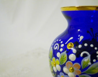 COBALT Blue VENETIAN ART Glass Vase Decorated and Beaded in 24Kt Gold