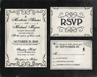 Halloween Wedding Invitation Set