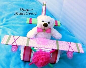 Girl Diaper Cake - Airplane Diaper Cake - Diaper Cake - Baby Shower - Baby Gift - Baby Shower Gift - Baby Shower Centerpiece