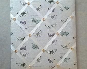 Handmade - Memo / Pin Board in Vintage Butterflies fabric - 45cm x 40cm