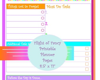 Large Printable - Daily To Do - Planner Page (PDF) Downloadable INSTANT DOWNLOAD Planner Page Daily Organizer Page Colorful Digital Planner