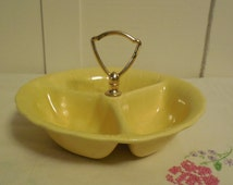 """Sectioned Dish 8""""x2"""" Lane and Co. , Vintage Lane and Co. Made in California Pottery, Vintage Candy Dish, Divided Dish with Handle"""