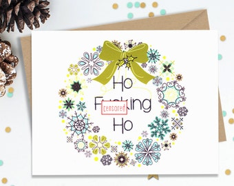 Mature Funny Holiday Card, Christmas Cards, Blank Greeting Cards, Funny Card for Her, Funny Card for Him, Anti Holiday Cards, Adult Holiday