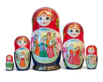 Nesting doll matryoshka - One of a kind - Unique - Festive Time - Hand-painted collection kod19b