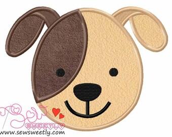 Cute Dog Face Applique Design.