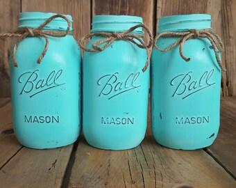Painted Mason Jars, set of 3