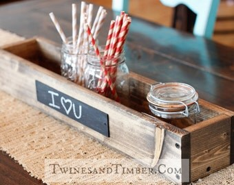 """24"""" Wooden Trough with two chalkboard labels"""