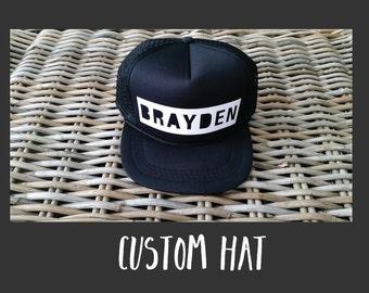 CUSTOM BLOCK LETTER Kids Snapback Hat | Toddler Trucker Hat | Baby Trucker Hat | Baby Snapback | Kids Trucker Hat