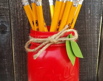 Teacher Gift, Red Mason Jar, Teacher Appreciation, Desk Decor,  Red Apple Mason Jar, Teacher Mason Jar, Pencil Holder, Teacher Desk Decor
