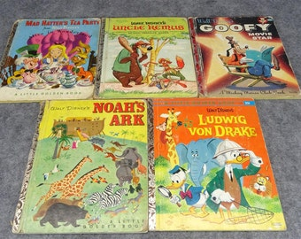 Walt Disney Collection of 5 Childrens Story Books Vintage Hard Cover