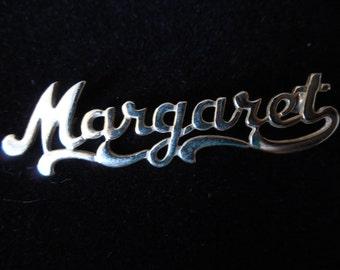 Vintage Gold Tone Name Margaret Pin Brooch