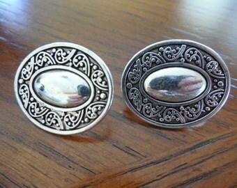 Silver Tone Oval Design Clip Earrings
