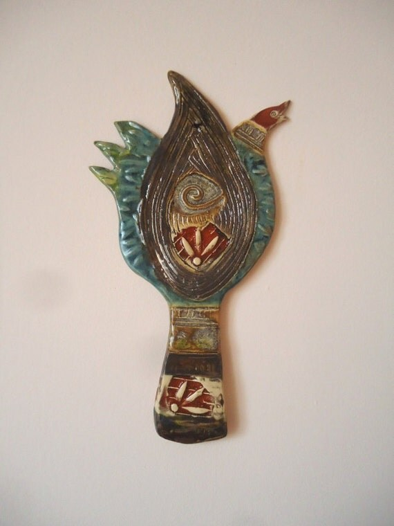 Wall Decor With Clay : Ceramic wall art singing paint brush clay by
