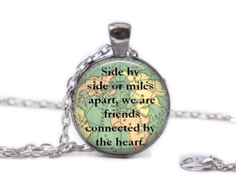 Friend Necklace Map Jewelry Travel Necklace World Map Necklace Travel Quote