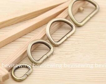 10 PCS Anti-Brass D Loop for handmade bag Belts/D Ring